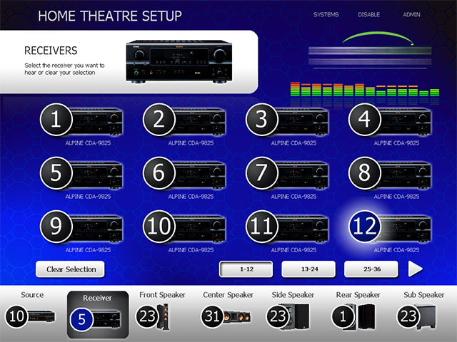 home theater touch screen interface